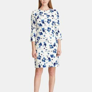 Ralph Lauren Lace trim Blue Floral Print Dress 6
